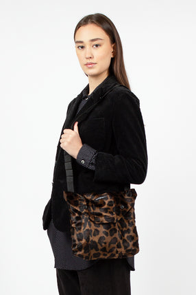 Shoulder Pouch Dark Brown Poly Leopard