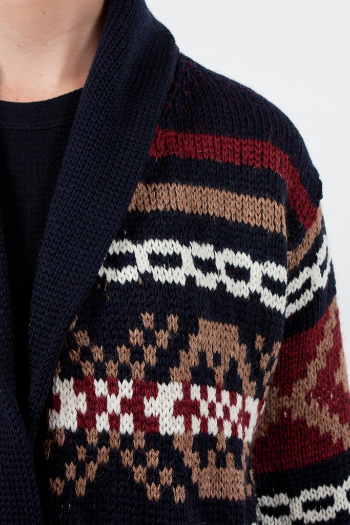 Navy/Burgundy Ballina Fairisle Jacket