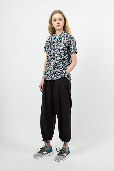 Black Tropical Wool Balloon Pant