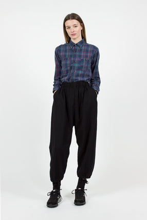 Black Worsted Wool Flannel Balloon Pant