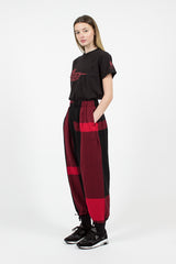 Big Plaid Black/Red Worsted Wool Flannel Balloon Pant