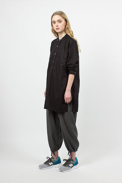 Black Handkerchief Linen Banded Collar Long Shirt