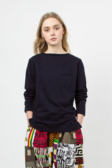 Dark Navy Cotton Jersey Bask Top