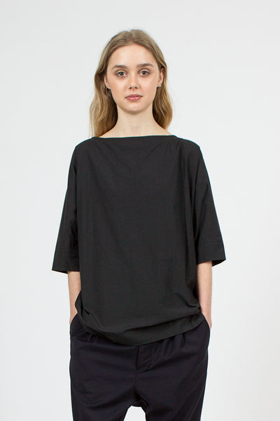 Boat Neck Wrap Back Shirt Navy Black