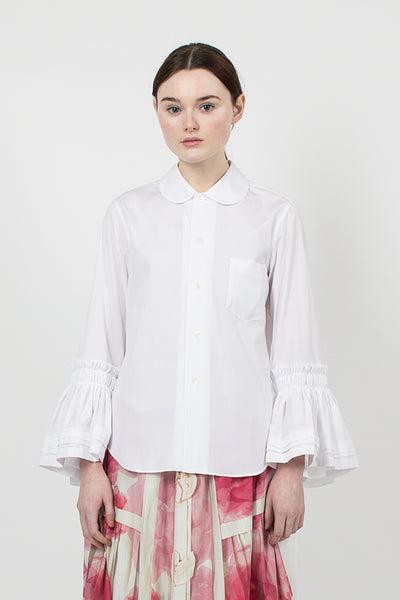 White Bell-Sleeve Shirt