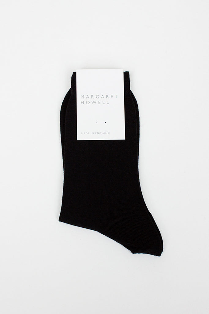 Black Plain Merino Sock