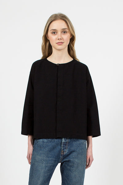 Raschel Crew Neck Black Cardigan