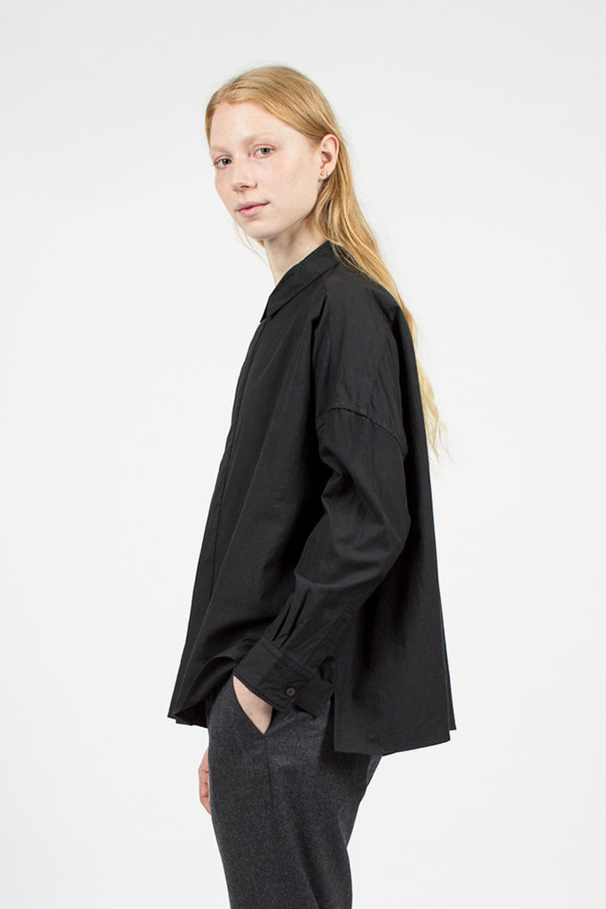 Black Square Collar Shirt