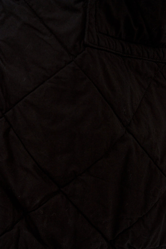 Black Collarless Quilted Coat