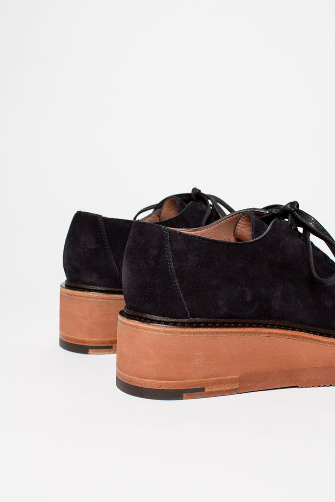 Dark Navy Suede Lace-up Wedge