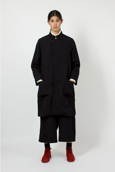 Navy Banded Collar Coat