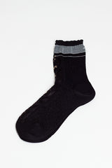 Black Matte Sheer Lace Sock