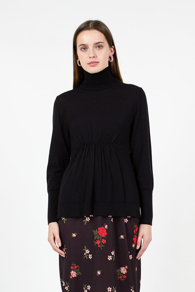 Ruched Flower Polo Neck