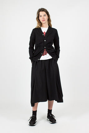 Black Fine Wool Culottes