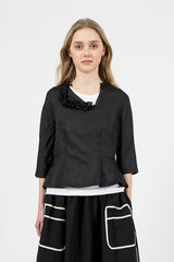 Ruffle Collar Top Black