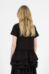 Long Ruffle T-shirt Black