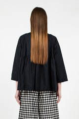 Black Gathered Shirt