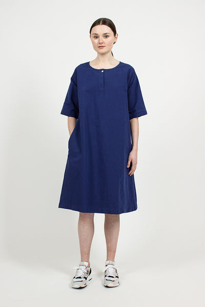 Workwear Blue Cotton Linen Canvas T-shirt Dress