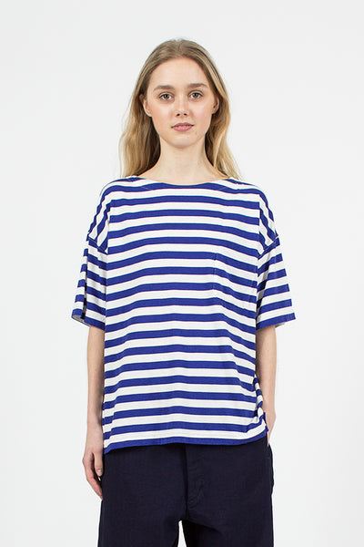 White and Blue Border Pocket Tee