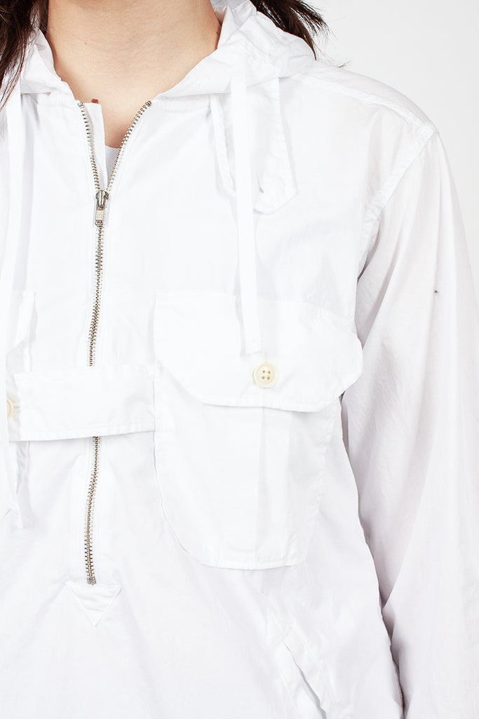 White Superfine Poplin Bush Shirt