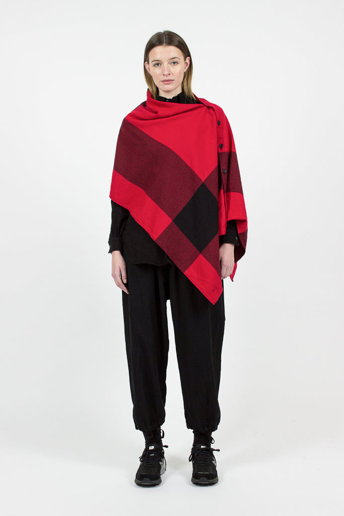 Red/Black Big Plaid Worsted Wool Button Shawl