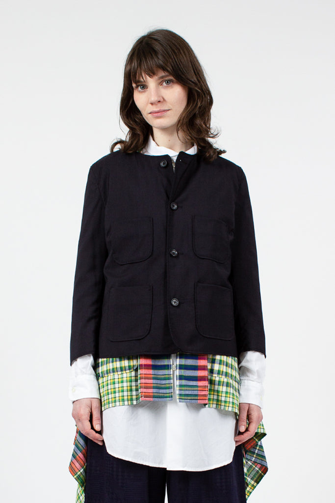 Dark Navy Tropical Wool CN Jacket