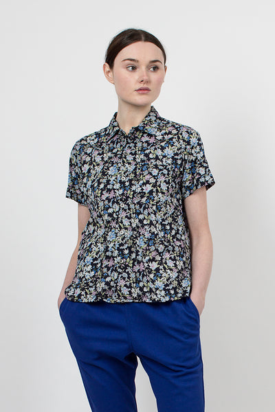 Navy Floral Blossom Sheeting Camp Shirt