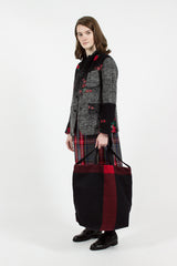 Black Big Plaid Wool Melton Carry All Tote