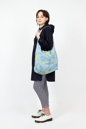Denim Floral Embroidery Carry All Tote