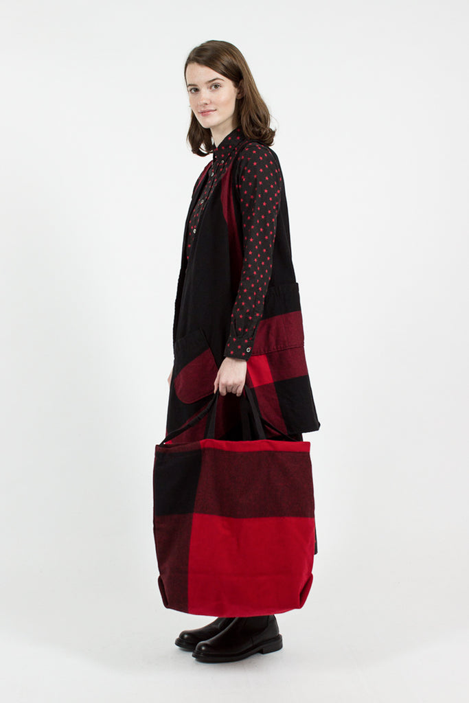 Red Big Plaid Wool Melton Carry All Tote