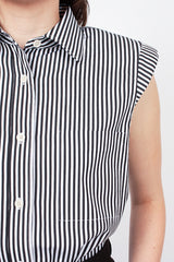 Striped Padded Shoulder Shirt