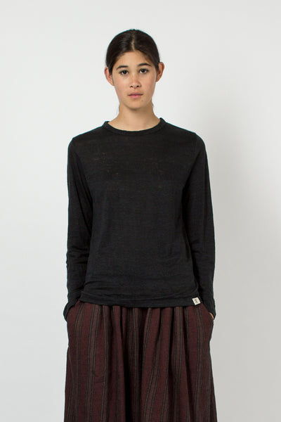 Black Linen Long Sleeve T-shirt