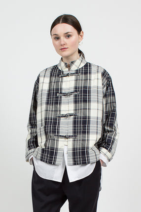 Navy Silk Maxi Plaid China Coverall Jacket