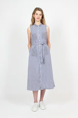 Bengal Stripe Broadcloth Navy/White Classic Dress