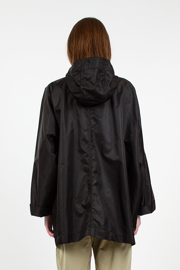 Black Hooded Nylon Parka