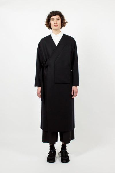 Collarless Black Coat