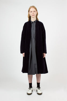 Navy Velvet Inverted Pleats Robe Coat