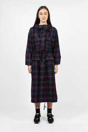 Cagoule Dress Dark Grey/Blue/Red Plaid Poly Wool Big Plaid
