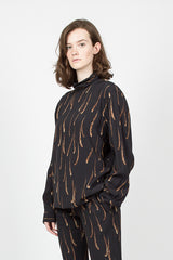Feather Print High Neck Shirt