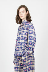 High Neck Shirt Ecru/Blue Check