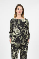 Peacock Feather Top Black