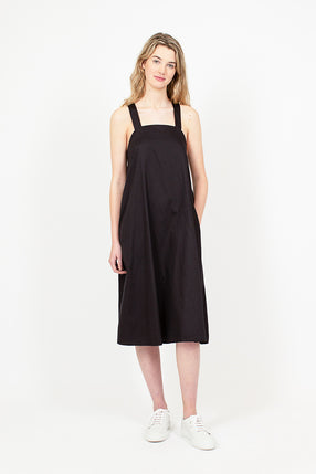 Cross Back Cotton Sateen Black Dress