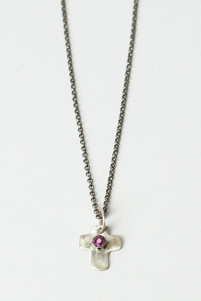 Spirit Ruby Cross Necklace