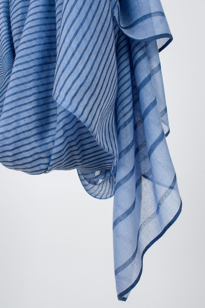 Ilheus Blue Stripe Shawl