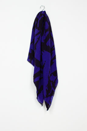 Washed Shawl Printed Blue/Black Wool