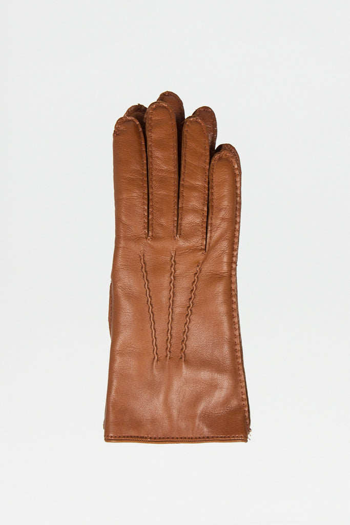 Cashmere Lined Cognac Leather Gloves