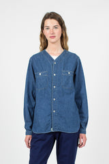 Collarless Used Denim Shirt