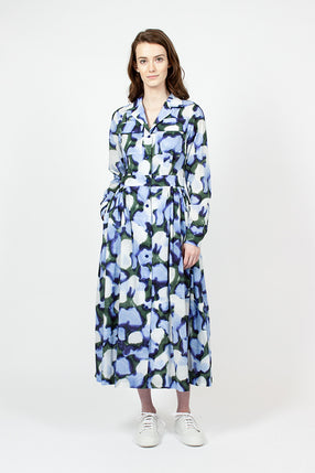 Pleated Floral Print Cotton Midi Dress
