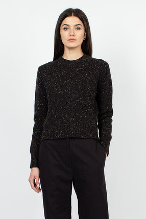 Black Cable Knit Donegal Sweater