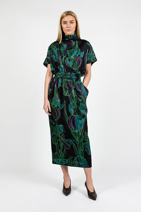 Doria Black Floral Dress